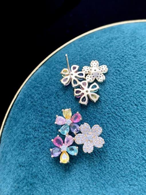 SUUTO Brass Cubic Zirconia Flower Trend Stud Earring 1