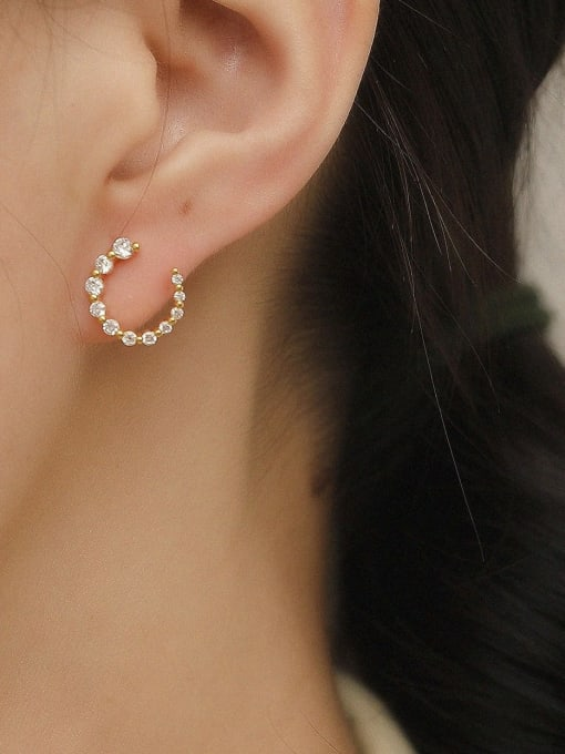 HYACINTH Brass Cubic Zirconia Geometric Minimalist Stud Trend Korean Fashion Earring 1