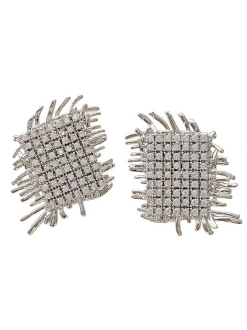 SUUTO Brass Cubic Zirconia Geometric Luxury Stud Earring 3