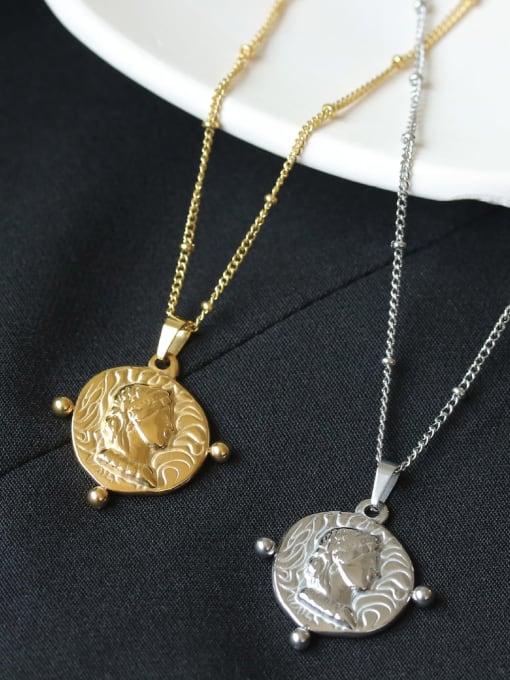 ACCA Brass Geometric Vintage Vintage portrait pendant Necklace
