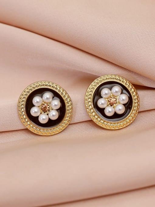 HYACINTH Brass Imitation Pearl Flower Vintage Stud Earring 2