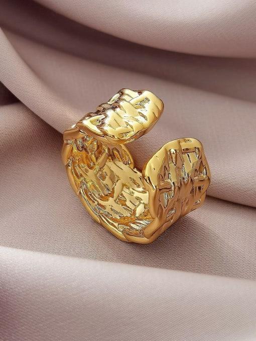 HYACINTH Brass Irregular Geometric Vintage Band Ring 2