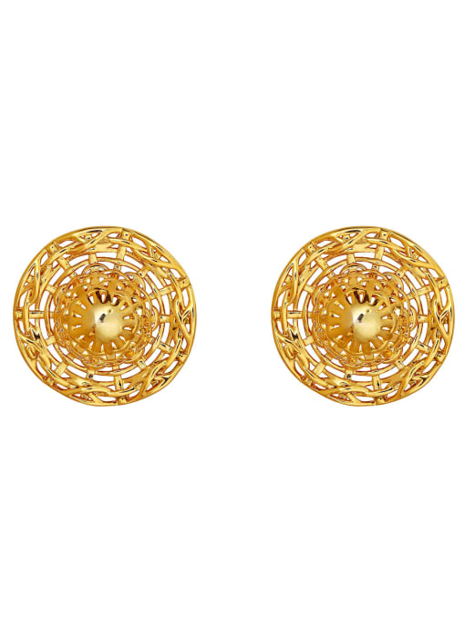 HYACINTH Brass Hollow Round Vintage Stud Earring