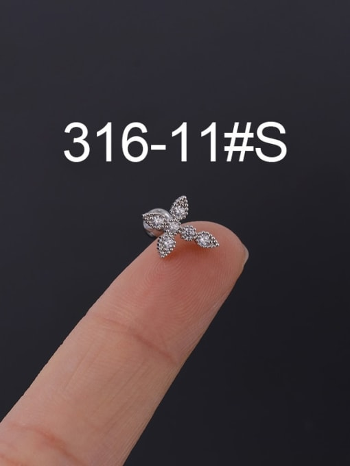 11S Stainless steel with Cubic Zirconia Ear Bone Nail/Puncture Earring
