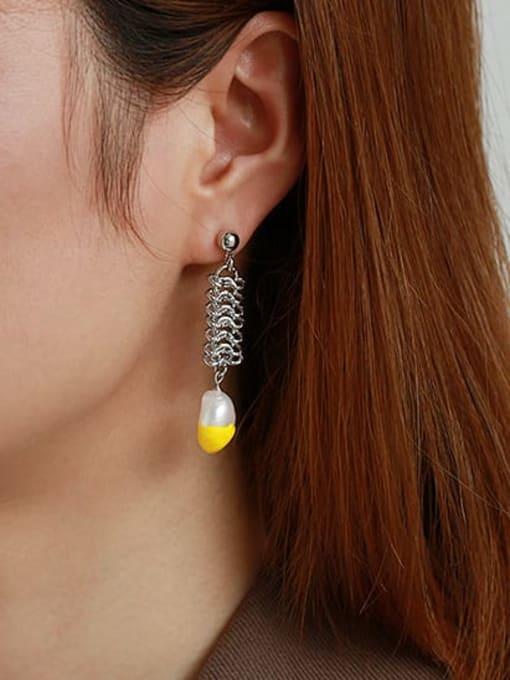 ACCA Brass Imitation Pearl Geometric Vintage Drop Earring 1