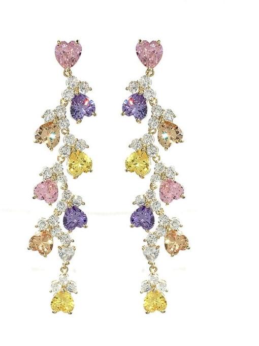 colour Brass Cubic Zirconia Irregular Statement Drop Earring