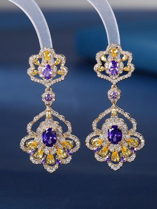 purple Brass Cubic Zirconia Flower Luxury Drop Earring
