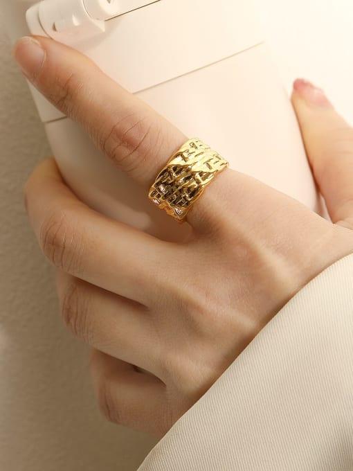 HYACINTH Brass Geometric Vintage Band Ring 2