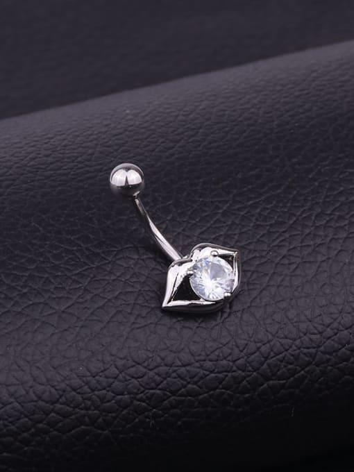 HISON Stainless steel Cubic Zirconia Mouth Hip Hop Belly Rings & Belly Bars 2