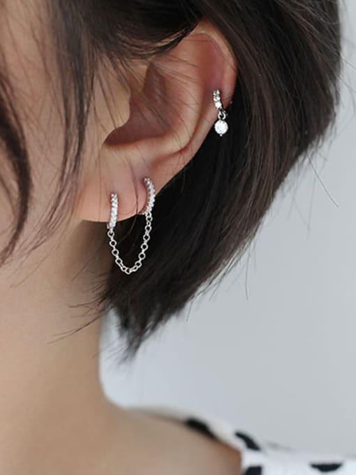 HISON Brass Cubic Zirconia Tassel Minimalist Huggie Earring(Single) 3
