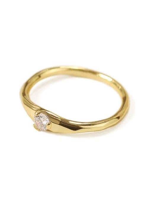 White zircon Brass Cubic Zirconia Geometric Minimalist Band Ring