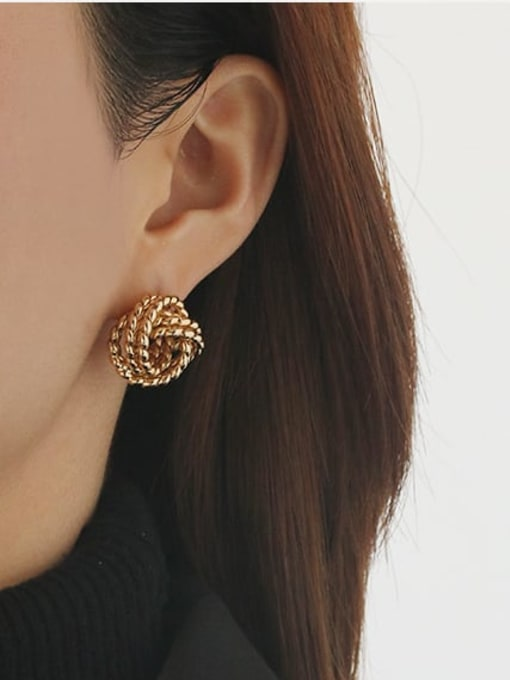 ACCA Brass Hollow Geometric Vintage Stud Earring 1