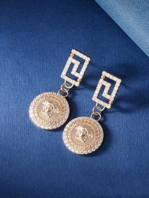 OUOU Brass Cubic Zirconia Geometric Vintage Huggie Earring 2