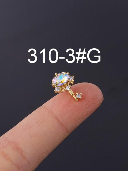 3 Gold (Single) Brass Cubic Zirconia Geometric Hip Hop Stud Earring