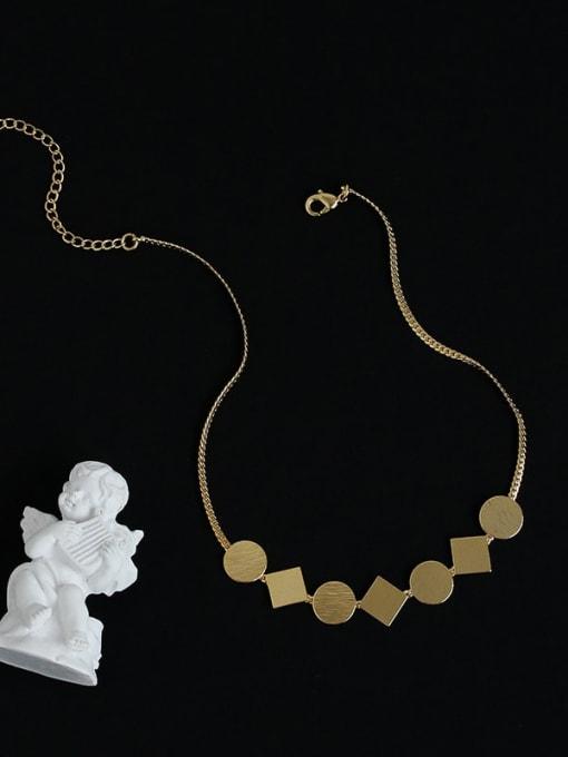 Five Color Brass Geometric Minimalist Necklace 3