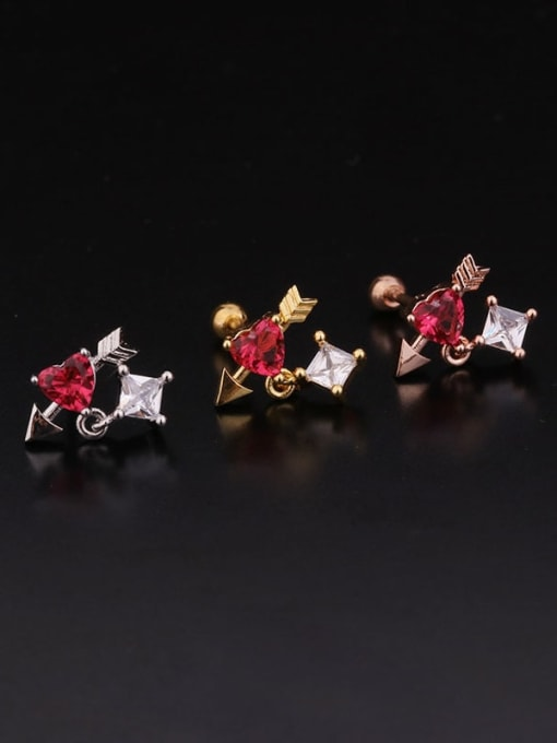 HISON Brass Cubic Zirconia Round Hip Hop Stud Earring 4