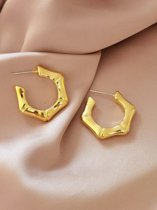 16K  gold Brass Geometric Minimalist Stud Earring