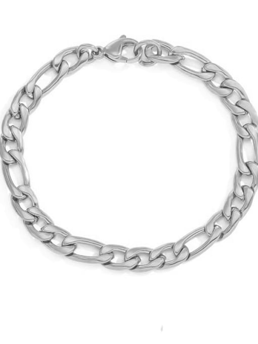 Steel color 6mm 19cm Stainless steel Geometric Minimalist Link Bracelet