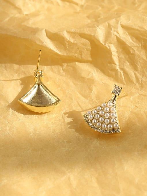 HYACINTH Brass Imitation Pearl Triangle Bohemia Stud Earring 3