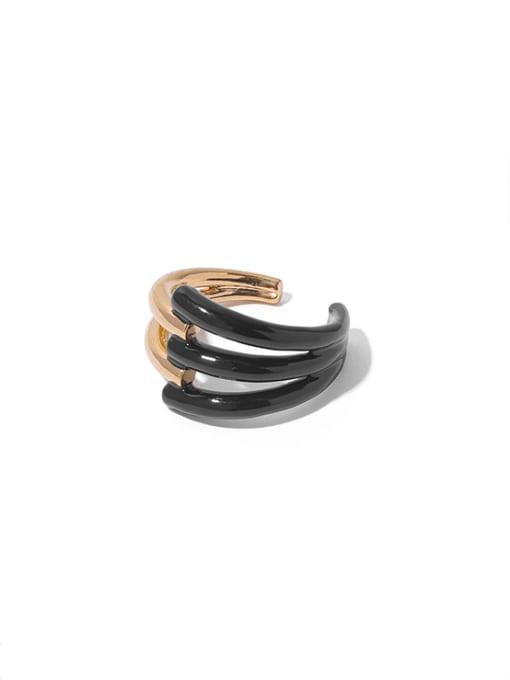 Black oil dripping Brass Enamel Geometric Vintage Band Ring