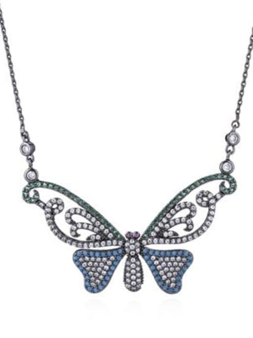 colour Brass Cubic Zirconia Butterfly Minimalist Necklace
