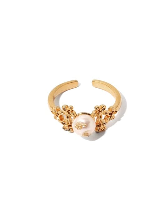Section 1 Brass Imitation Pearl Irregular Hip Hop Band Ring