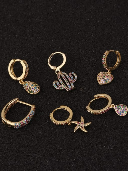 HISON Copper with Cubic Zirconia Multi Color Star Dainty Hoop Earring 3