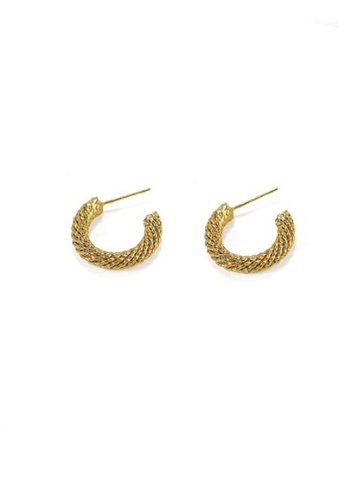 Item 6 Brass  Smooth Irregular Vintage Stud Earring