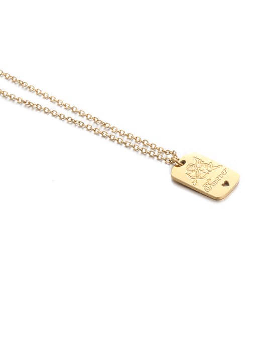Fangpai Necklace Titanium Steel Locket Minimalist Geometric  Pendant Necklace