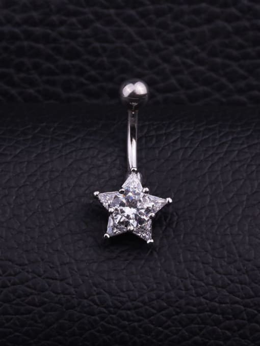 HISON Stainless steel Cubic Zirconia Flower Hip Hop Belly Rings & Belly Bars 3