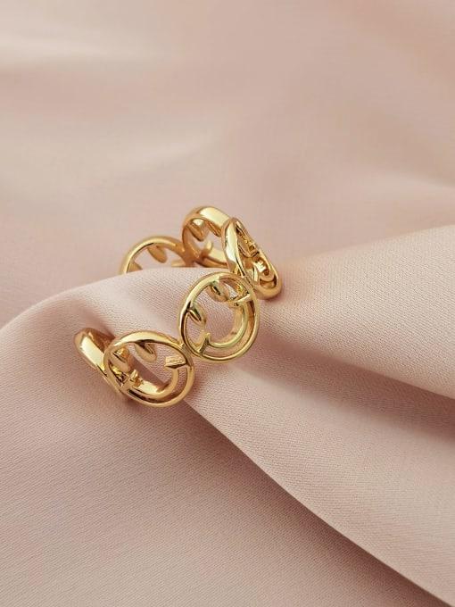 14k gold Brass Smiley Minimalist Band Ring