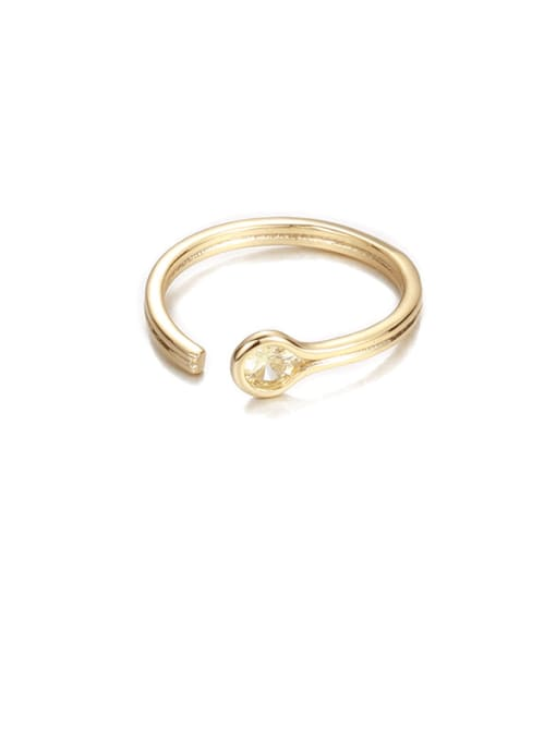 Goose yellow zircon Brass Rhinestone Rainbow Minimalist Band Ring