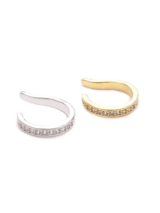 HISON Brass Cubic Zirconia Geometric Minimalist Clip Earring (Single) 3