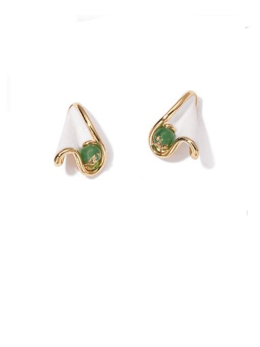 Ear Studs Brass Enamel Irregular Minimalist Stud Earring