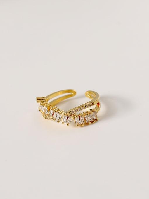 18k gold Brass Cubic Zirconia Irregular Hip Hop Band Ring