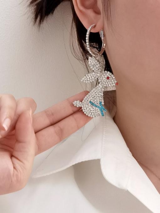 HYACINTH Brass Cubic Zirconia Rabbit Trend Hook Earring 1