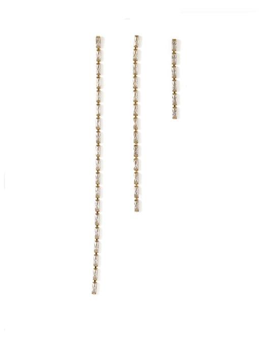 ACCA Bronze Cubic Zirconia Tassel Minimalist Threader Earring 0