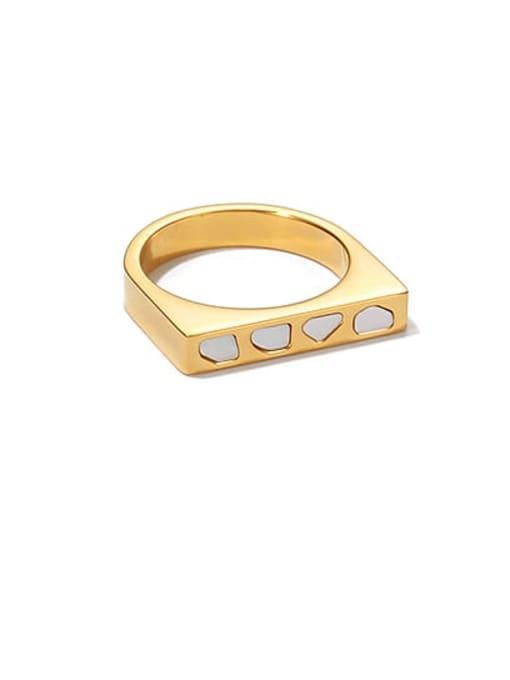 Gold U-ring Titanium Steel Shell Geometric Minimalist Band Ring