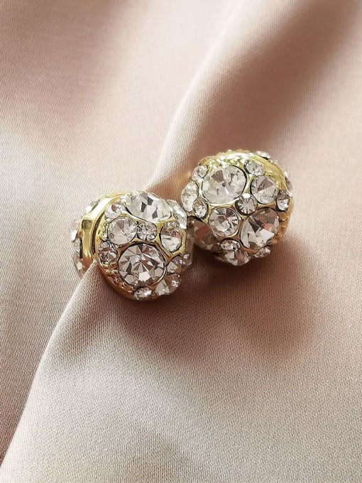 HYACINTH Brass Rhinestone Geometric Minimalist Stud Earring 3
