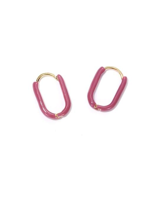 ACCA Brass Enamel Geometric Vintage Huggie Earring
