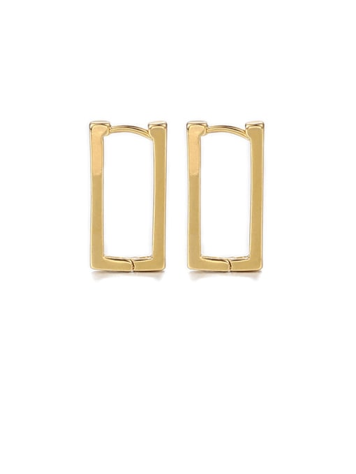 Square ear buckle Brass Hollow Geometric Hip Hop Stud Earring