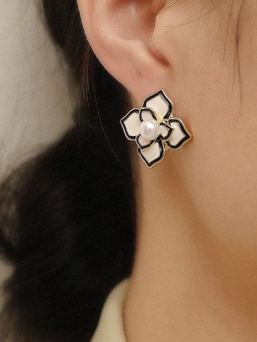 HYACINTH Brass Enamel Flower Vintage Stud Trend Korean Fashion Earring 1