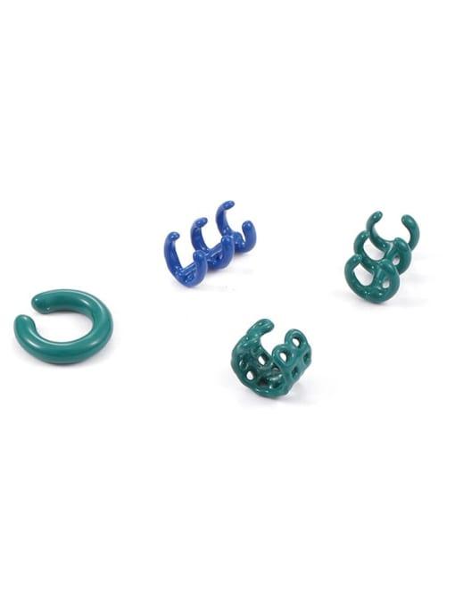 Five Color Brass Enamel Geometric Minimalist Single Earring 0