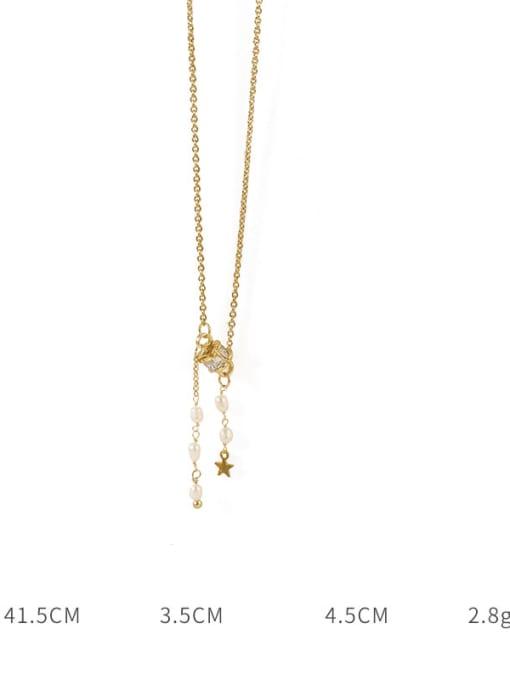 TINGS Brass Cubic Zirconia Tassel Vintage Lariat Necklace 3