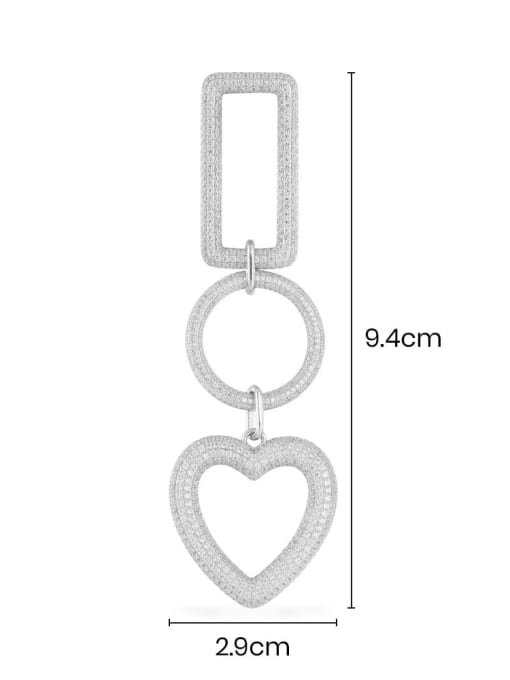 Platinum geometric heart-shaped Earring Brass Cubic Zirconia Heart Statement Drop Earring