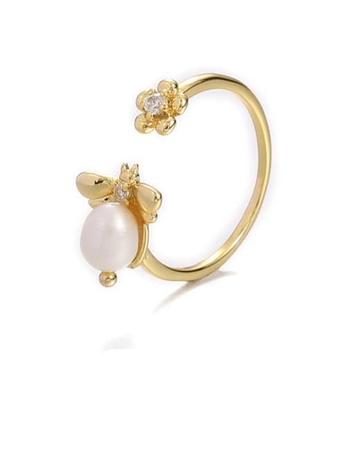 Bee ring (adjustable) Brass Imitation Pearl Bee Hip Hop Band Ring