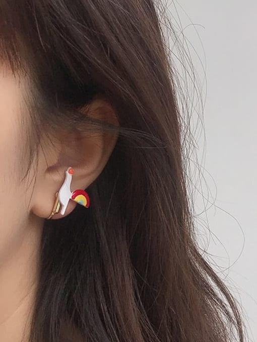 Five Color Alloy Enamel Wing Cute Stud Earring 1