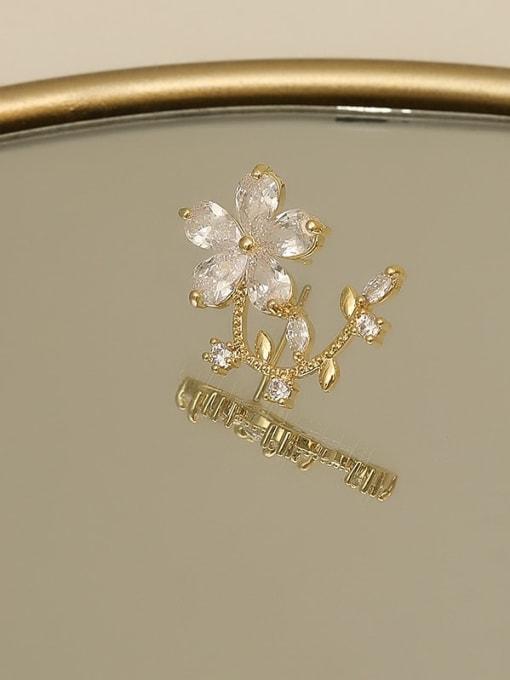 HYACINTH Copper Cubic Zirconia Flower Minimalist Stud Earring 2