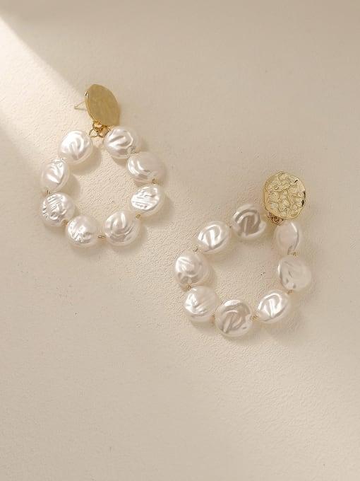 HYACINTH Brass Freshwater Pearl Geometric Vintage Drop Trend Korean Fashion Earring 3