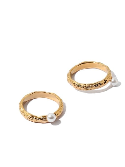ACCA Brass Imitation Pearl Irregular Vintage Band Ring 2